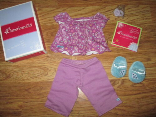 Authentic AMERICAN GIRL DOLL PURPLE PEACOCK PAJAMAS PJS  OUTFIT CLOTHES NIB Jess
