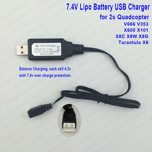 7.4V Lipo Battery USB Charger Cable for V666 V353 X600...