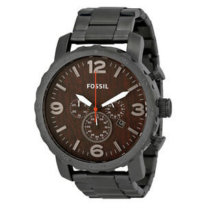 Fossil nate chronograph wood dial stainless steel mens watch jr1355 for Bulltoro watches