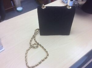 Russell-and-Bromley-black-suede-quilted-small-handbag-with-gold-chain-excellent