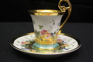 kpm fine bone china floral w green band gold trim footed teacup saucer ebay. Black Bedroom Furniture Sets. Home Design Ideas