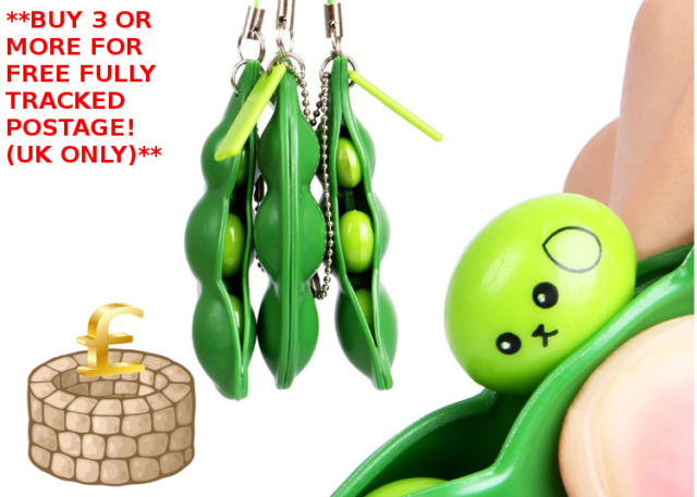 2x Stress Relief Toy Anti-Anxiety Toy Adults Autism Pea Pod Keyring Squeezy Bean