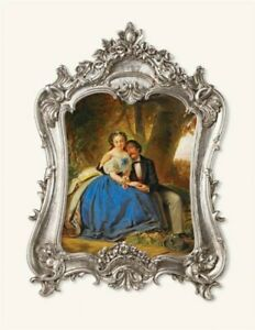 Victorian-Trading-Co-Grand-Silver-Baroque-Crest-Stone-Photo-Frame