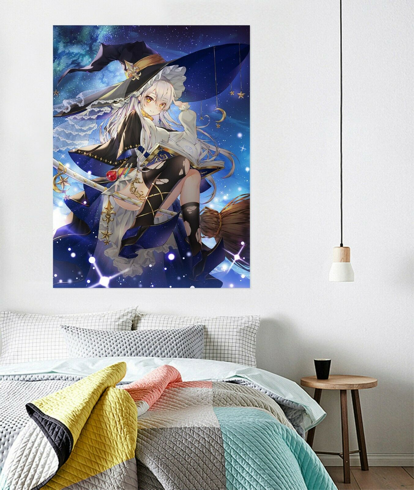 3D Hat Witch Broom B225 Japan Anime Wall Stickers Murals Wallpaper Zoe