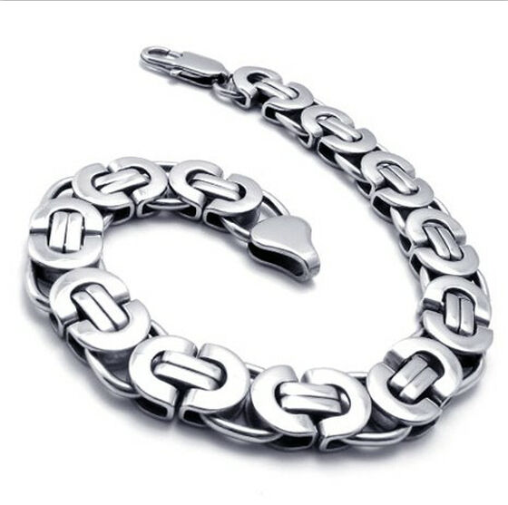 "High Polished Titanium Stainless Steel Mens Silver Link Bracelet 8.7"" Chain Gift"