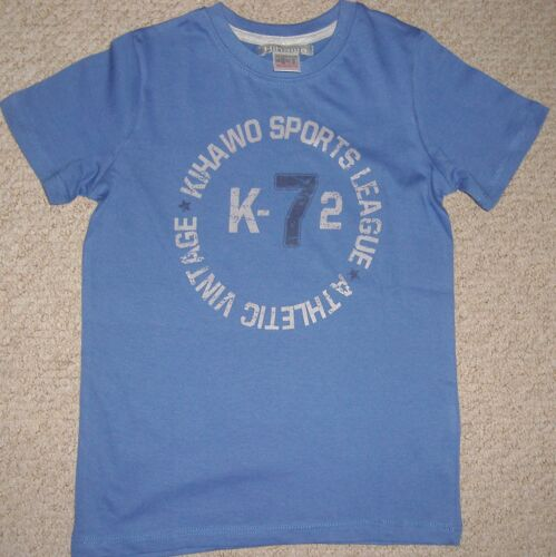 BOYS BLUE OR RED T-SHIRT WITH SPORTS PRINT TO FRONT AGES 8 10 OR 12 YEARS BNIP
