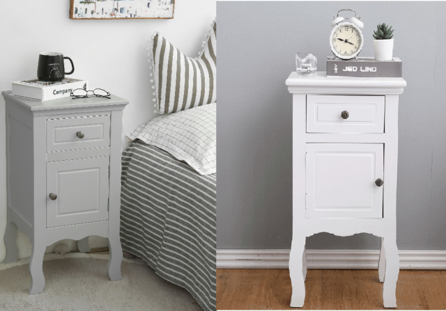 2 x Shabby Chic Bedside Table Nightstand Cabinet 1 Drawer & 1 Door Grey & White