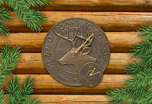Whitetail-Deer-14-034-Indoor-Outdoor-Wall-Clock-amp-Thermometer