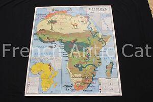 Carte Afrique Europe.Details Sur B968 Carte Scolaire Vintage Afrique Europe Economique Animaux Pop Mdi 91 79cm