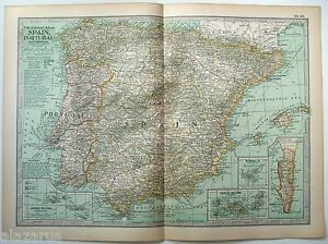 Original-1902-Map-of-Spain-Portugal-amp-Andorra-by-The-Century-Company-Antique