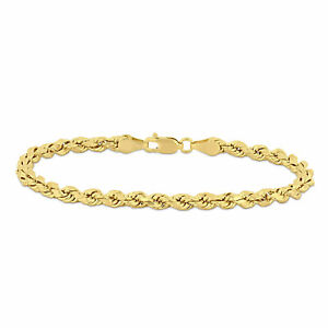 Amour 10k Yellow Gold 7.25 Inch Rope Chain Bracelet