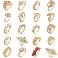 20 Style 18K Gold Plated Rhinestone Zirconia Rings Fashion Jewelry Gift 2 SIze