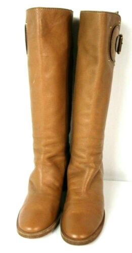 $899 CHLOE Tall Brown Cognac Leather Equestrian Ta
