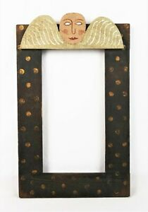 Vintage-Primitive-Folk-Art-Wood-Cherub-Figural-Picture-Frame-Fits-11-3-8-x-6