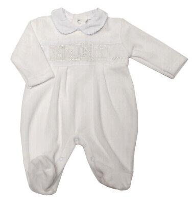 Baby Girls White Velour Babygrow