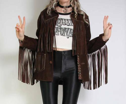 Mujeres De colección Gamuza Marrón Cuero Chaqueta  de abrigo señoras nativo flecos Western Wear  hasta un 60% de descuento