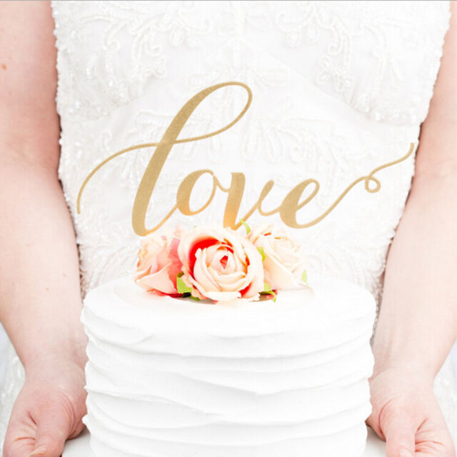 LOVE Cake Topper Sparkle Glitter Gold Wedding Decorate Engagement Party Favour l