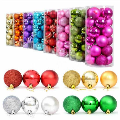 24Pcs Set 30-80mm Christmas Tree Baubles Shatterproof Glitter Xmas Decoration vi