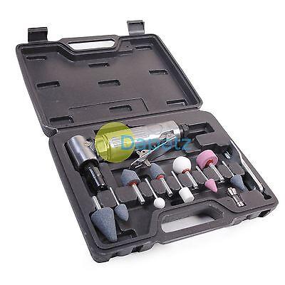 """Delizioso 15pz. 1/4 """" 6mm Angolo 90 Gradi Aria Smerigliatrice Utensile & Pietre Kit Set"""
