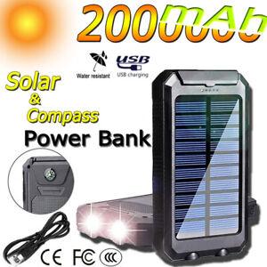 2000000mah Solar Power Bank Flashlight Usb Charger Solar Cell Phone Charger Ebay