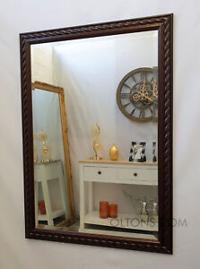 Mahogany Bevelled Edge Quality Wall Mirror Solid Wood Frame 72x104cm (28x41inch)