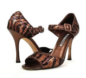 21e850662 Manolo Blahnik Caldo Sequined Mary Jane Sandal Pump Bronze Womens IT ...