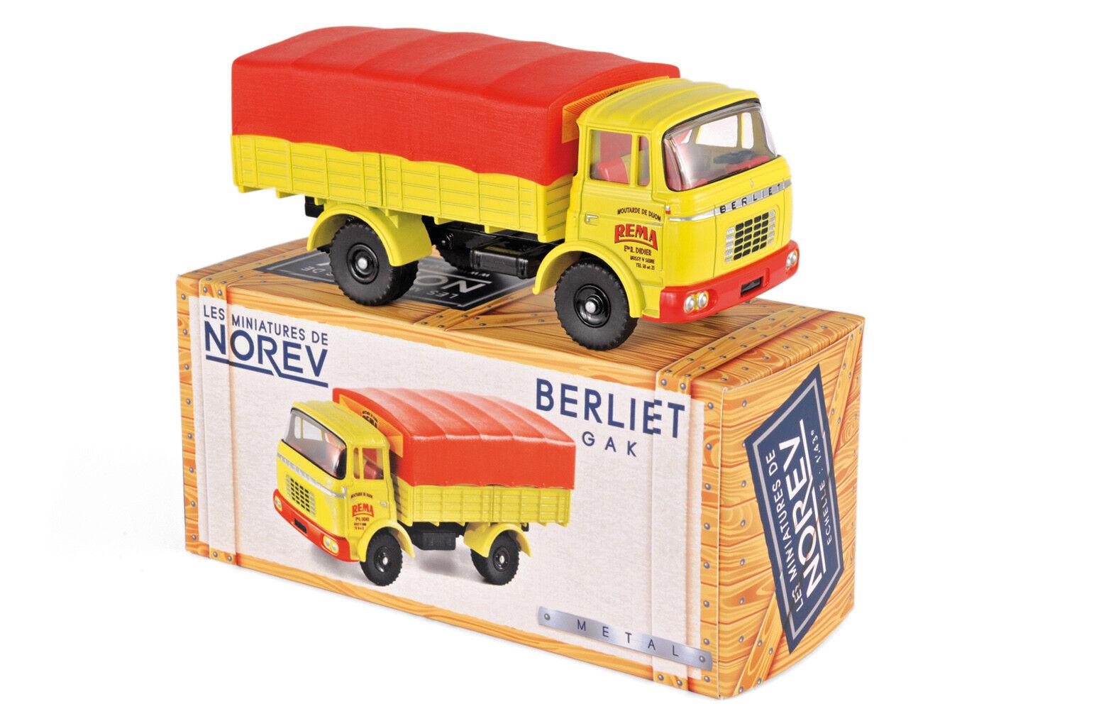 Les miniatures de NOREV CL6911 - Berliet GAK Bâché   Moutarde de Dijon 1 43