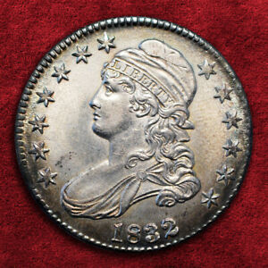 1832-P CAPPED BUST 50C, SMALL LETTERS O-117, NGC *UNC*, SRS: R4+!!! SALE 25%