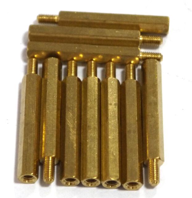 10 pcs M3 x 30mm Brass Hex Standoff Pillar Male - Female with nut AK
