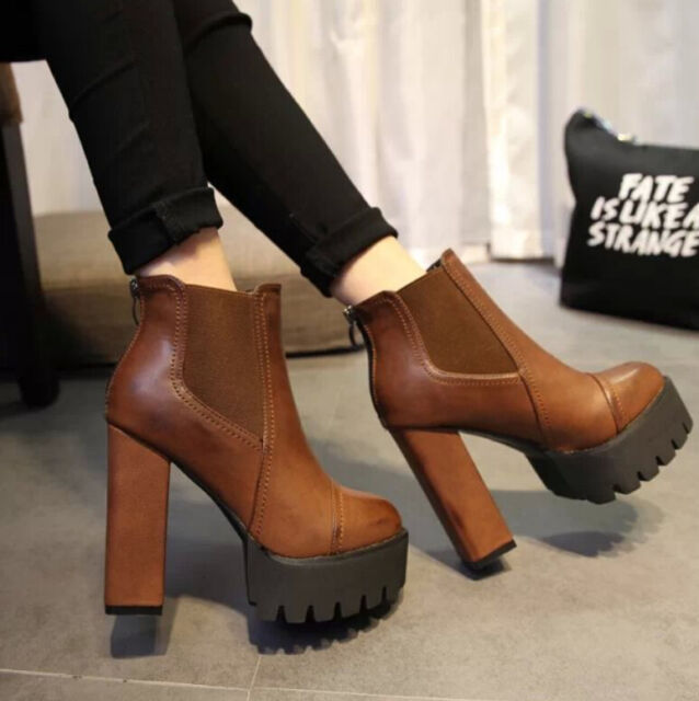 fashion womens platform chunky heel shoes faux leather ankle knight boots size E