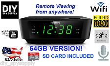 WiFi HD 64GB Alarm Clock 1080p Hidden Camera & Remote View 64GB SD Card Included