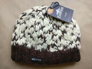 d7d27537f Details about Everest Designs Thick Knit Beanie Winter Hat Cap 100% Wool  Lined Hand Knitted
