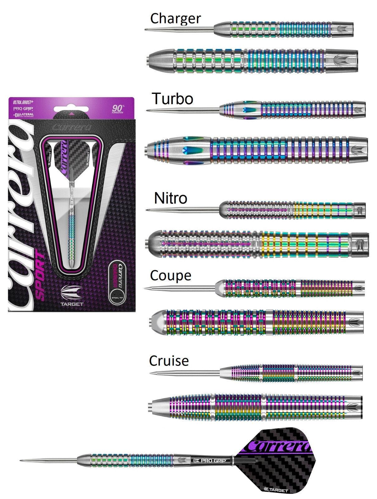 Carrera Sport 90% Tungsten Steel Tip Darts by Target Darts - Amazing New Designs