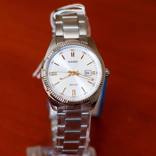 Casio 50m Dress Silver 7a2 Modern Steel Ladies Ltp1302d Stainless Watch Dial kXZiPu
