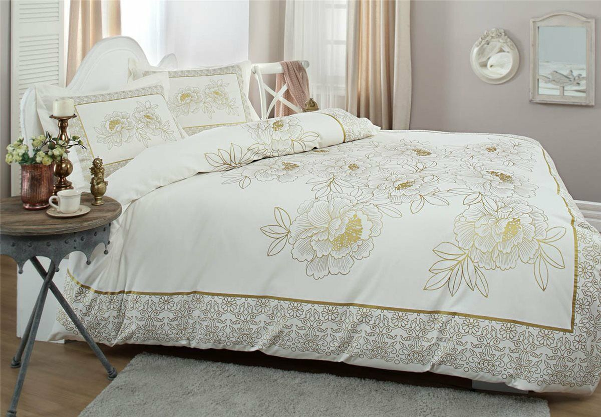 Bettwäsche 200x220 cm Bettgarnitur Bettbezug Baumwolle Kissen 4 tlg DECOR