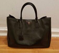 Authentic Prada Saffiano Lux Black Leather Tote Handbag