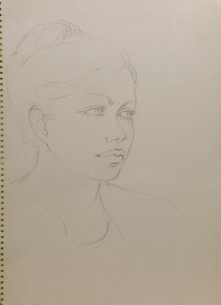 """ 60er Años Chica Retrato 2"" Lápiz Nelly Meyer (lengelle) 1933 -2014 Hermoso En Color"