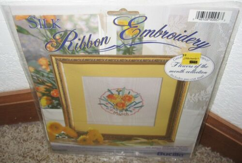 BUCILLA SILK RIBBON EMBROIDERY KIT FLOWER OF THE MONTHMARCHNIP