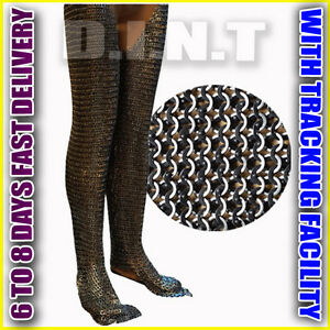 Chainmail-Legging-Flat-Riveted-Solid-Ring-Blackened-Chainmail-chausses