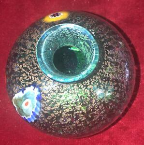 Mid-Century-Hand-Blown-Murano-Millifiiri-Art-Glass-Vase