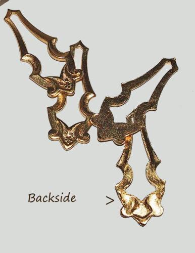 Art Nouveau Pendant Drop Jewelry Findings gold plate cast brass 2 pieces Vintage