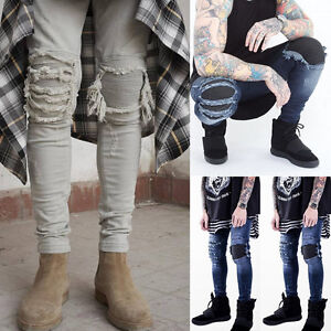 Men-Fashion-Designed-Straight-Slim-Fit-Biker-Jeans-Cool-Skinny-Denim-Trousers-US