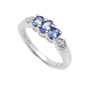 small sterling silver 3 tanzanite engagement ring