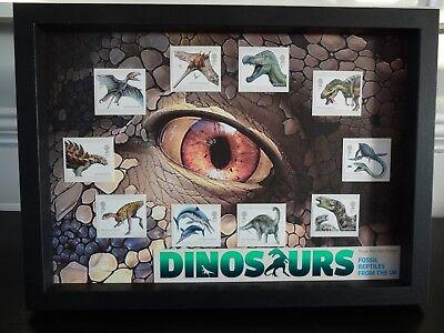 Premuroso 10 Dinosauri Francobolli Dalla Royal Mail Incorniciato-mostra Il Titolo Originale
