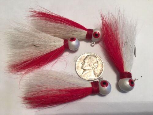 WR 1//8 oz Rouge//Blanc Lot de 20 Eagle Claw Bucktail Jig-ECJB 1//8