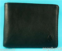 Nixon Cape Wallet Mens Black Real Leather Bi Fold Brand Rrp $59.95
