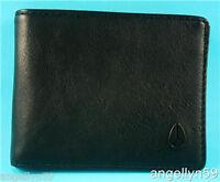 Nixon Cape Wallet Mens Black Real Leather Bi Fold Brand Rrp $59.95