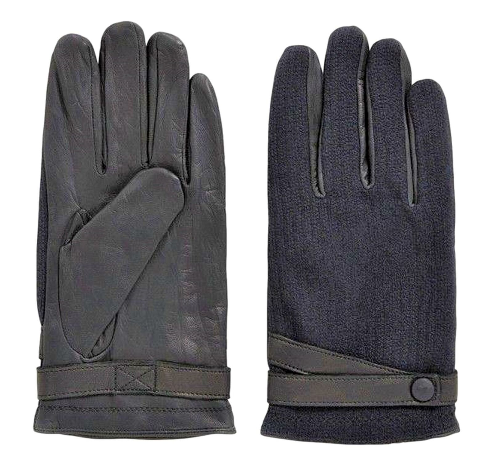 Hugo boss Leather Gloves With Sections Fabric A Contrast Gossling 50374390