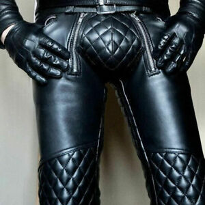 Men-039-s-Real-Leather-Pant-Punk-Kink-Jeans-Trousers-BLUF-Pants-Bikers-Breeches-Bike