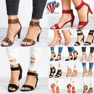 Womens-Ladies-Wedge-Low-Block-Heel-Black-Sandals-Ankle-Strap-Work-Smart-Shoes-US